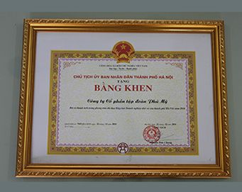 "Merit of the President of the people's Committee of Hanoi City for: ""had merits in the development of Association of Hanoi small and medium enterprises in 2016"""